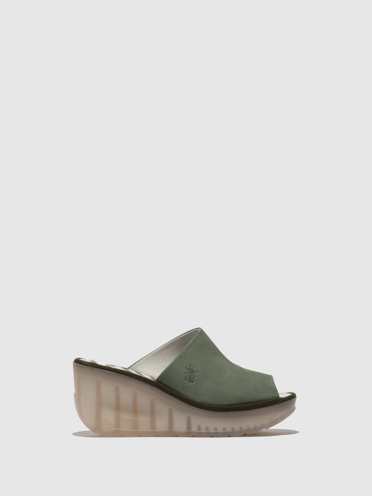 Fly London PaleGreen Wedge Mules