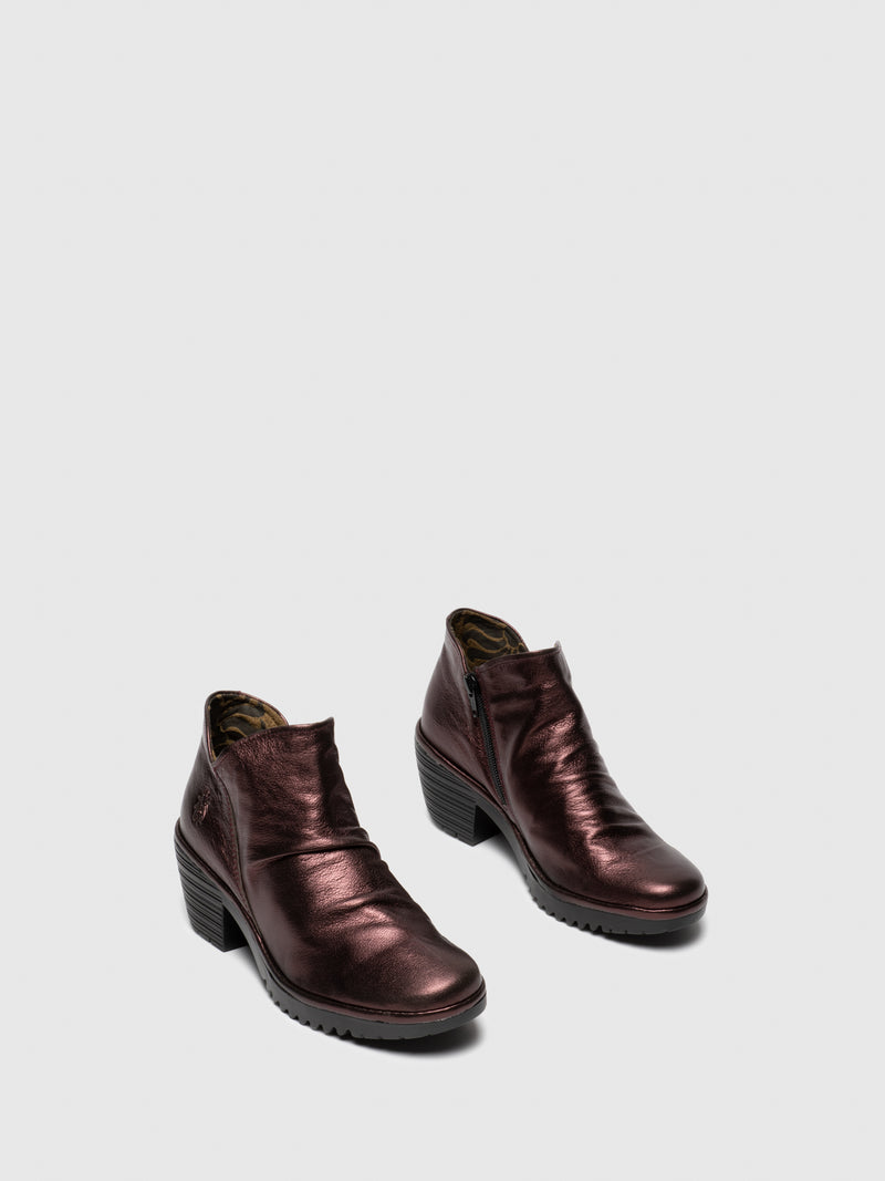 Maroon Zip Up Ankle Boots