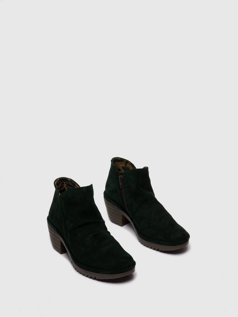 Fly London Zip Up Ankle Boots WEZO890FLY OILSUEDE GREEN FOREST