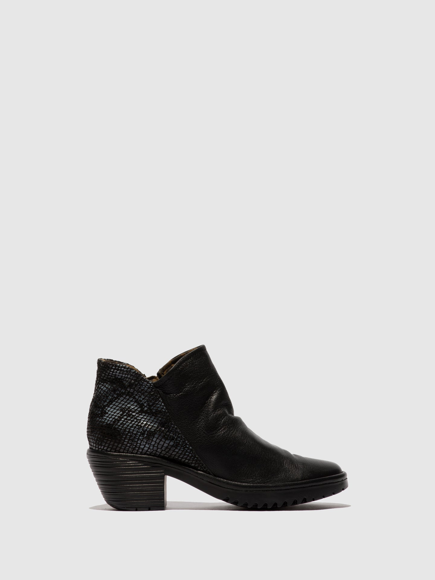 Fly London Zip Up Ankle Boots WEZO890FLY MOUSSE/SNAKE BLACK/BLACK(GREY)
