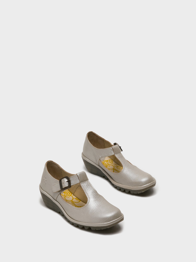 Silver Round Toe Shoes