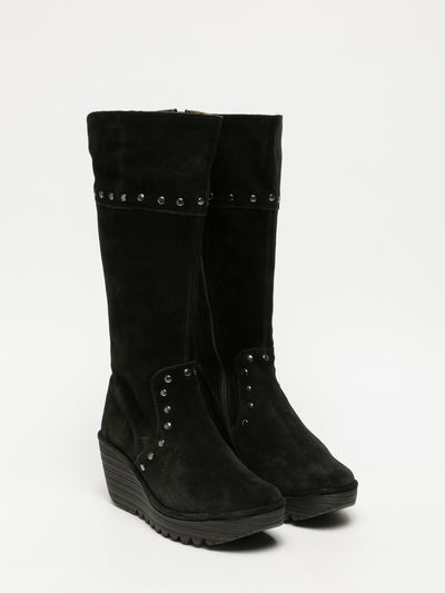 Fly London Black Studded Boots