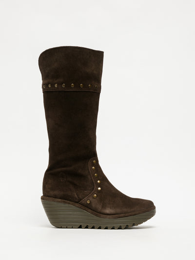 Fly London Brown Studded Boots