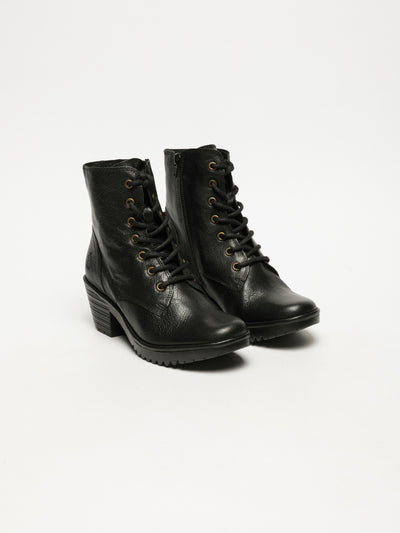 Fly London Black Lace-up Ankle Boots