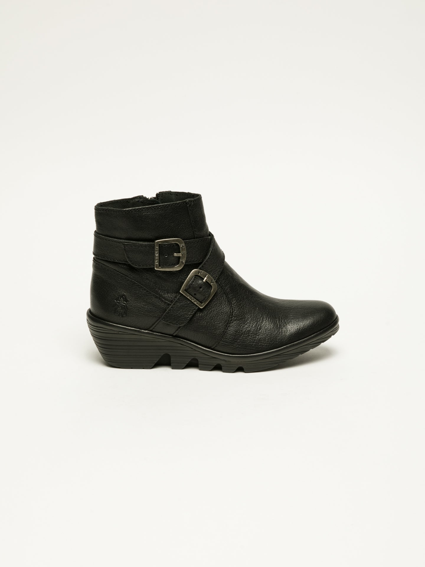 Fly London Black Buckle Ankle Boots