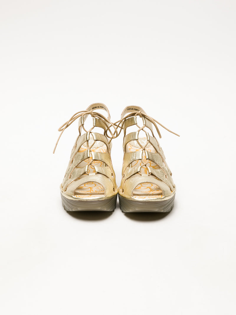 Fly London Gold Gladiator Sandals