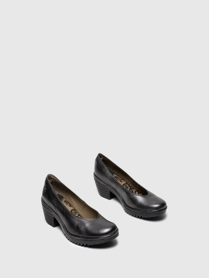 DarkGray Round Toe Pumps