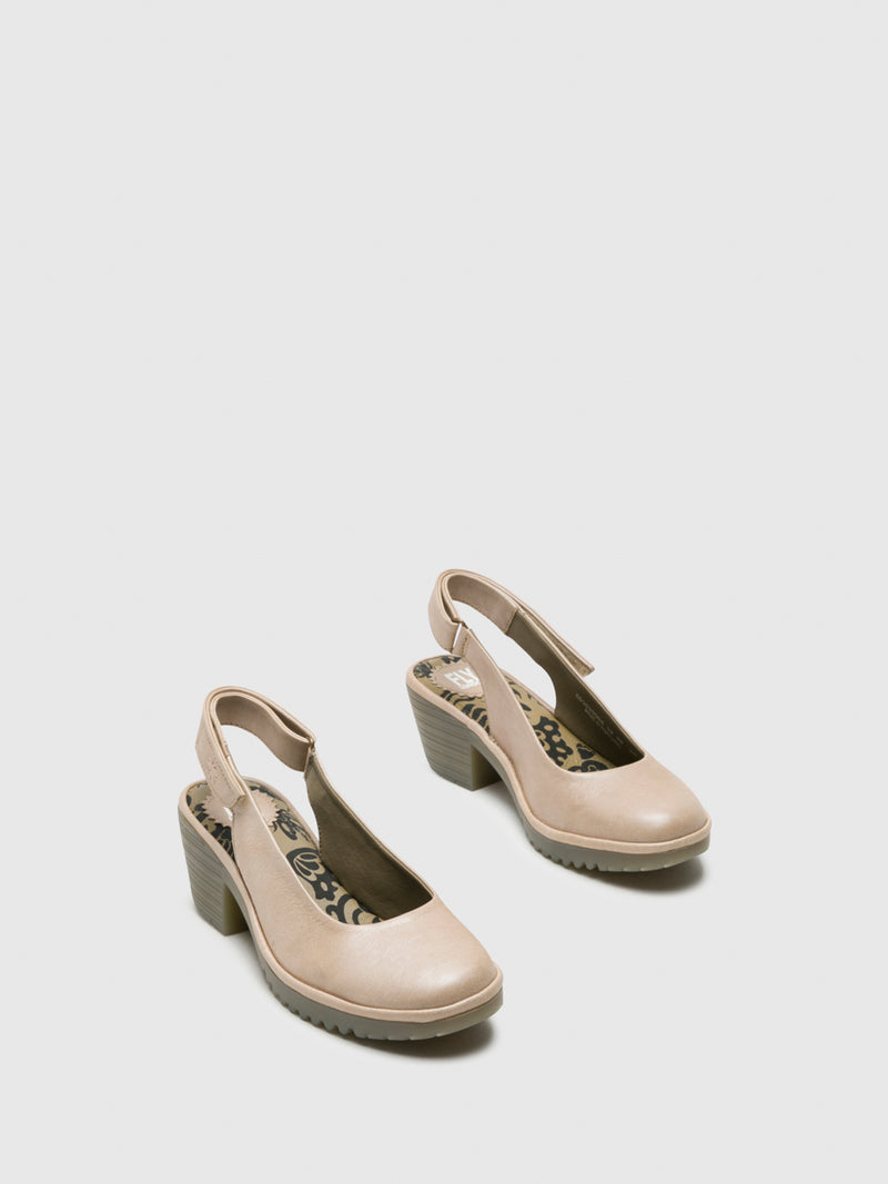 Fly London Beige Sling-Back Pumps Shoes