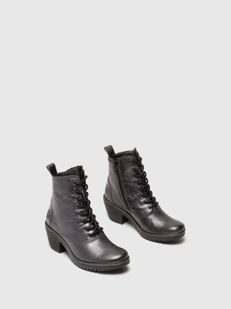 DarkGray Lace-up Ankle Boots