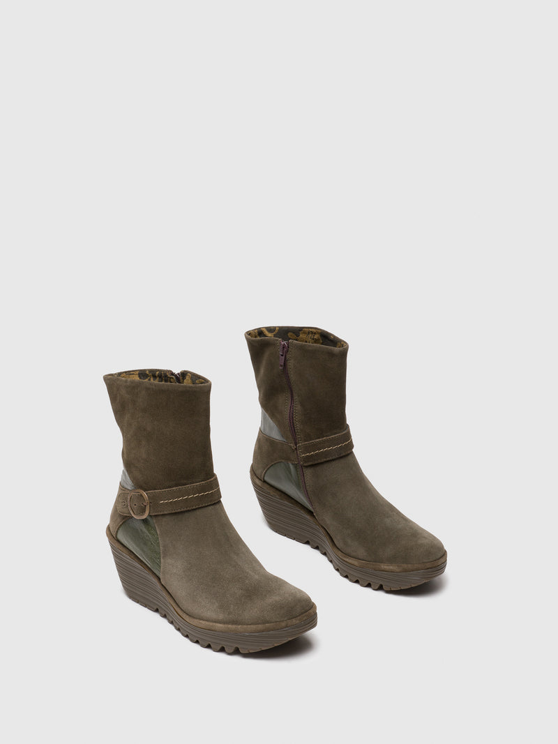 Olive Zip Up Ankle Boots