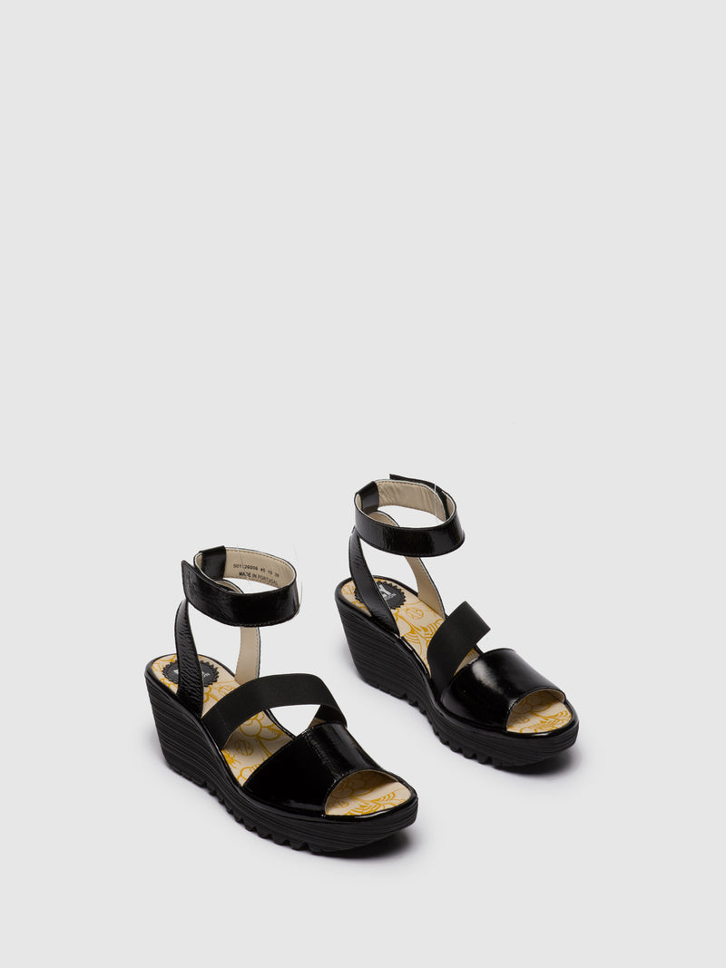 Fly London Gloss Black Ankle Strap Sandals