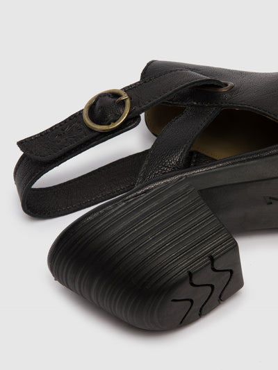 Fly London Black Leather Velcro Sandals