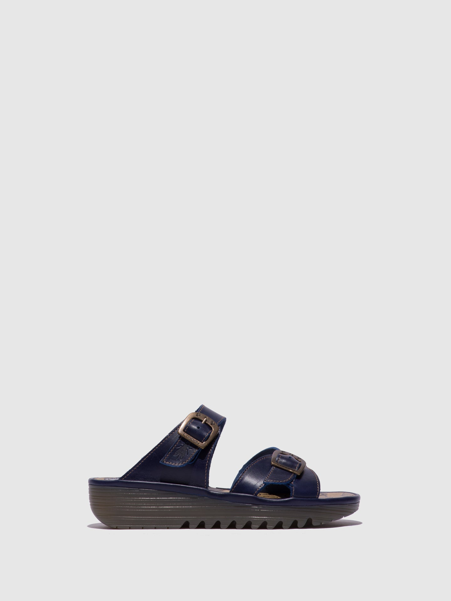 Fly London Blue Open Toe Mules