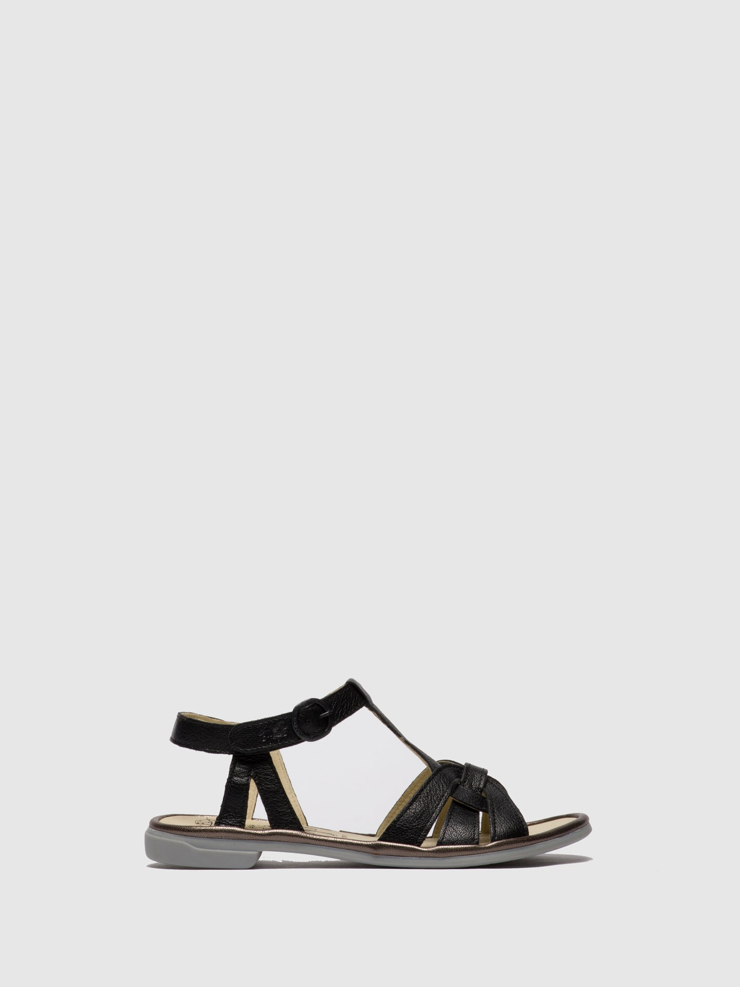 Fly London Black T-Strap Sandals