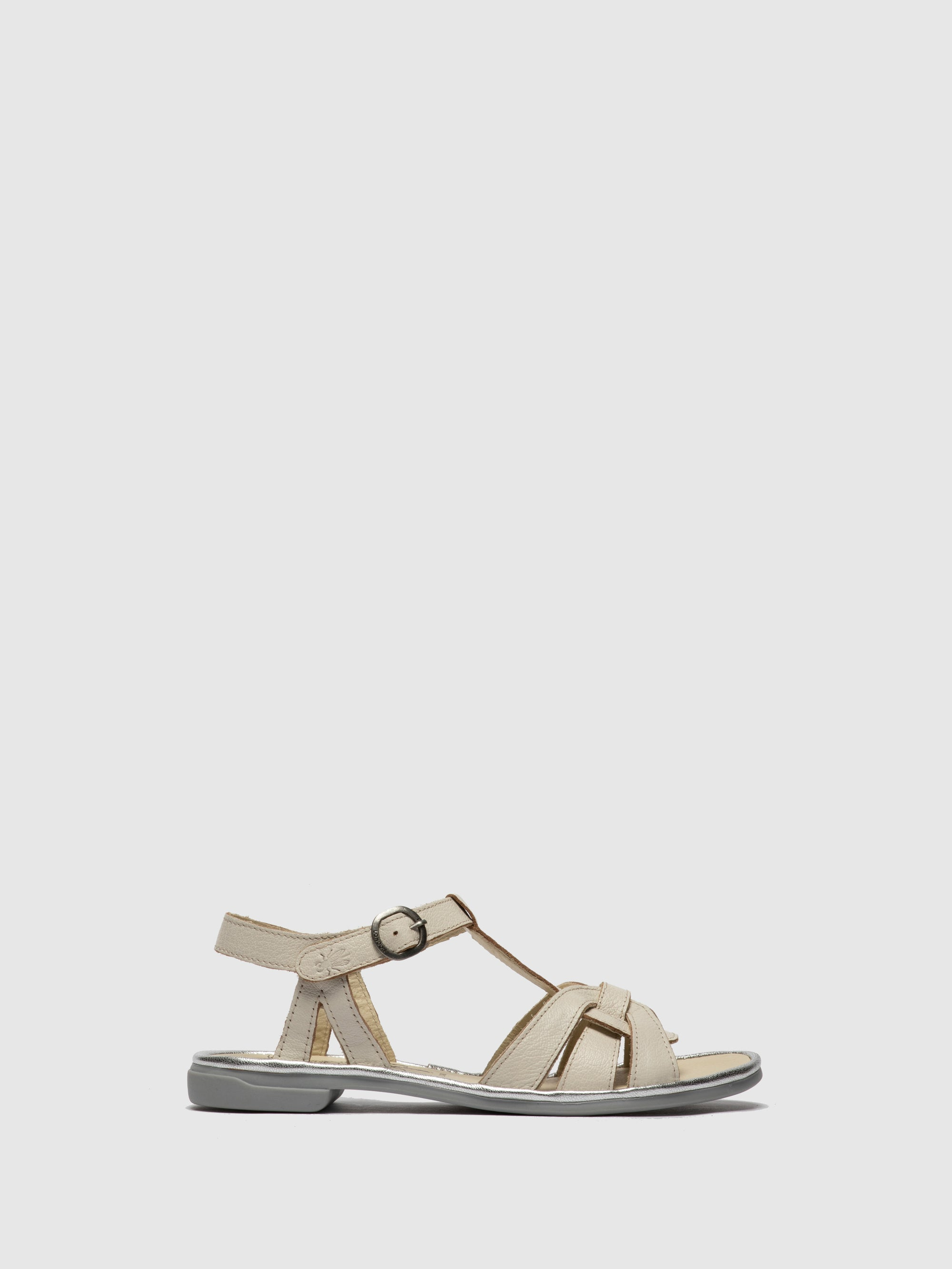 Fly London White T-Strap Sandals
