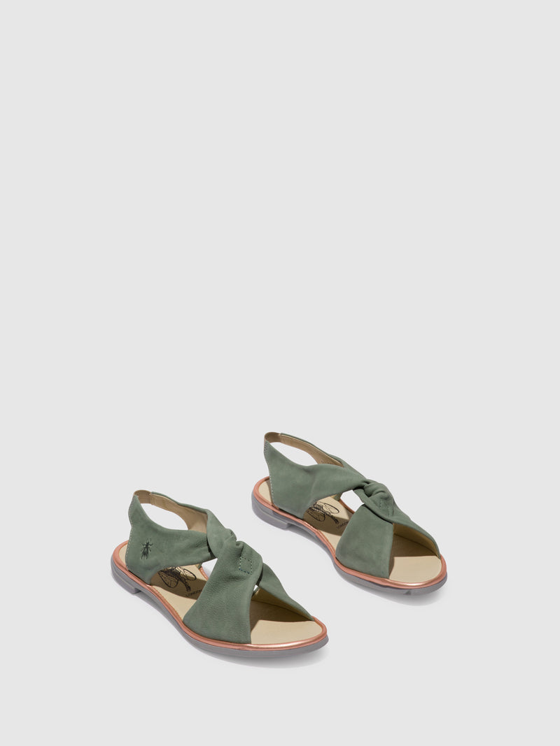 Fly London PaleGreen Crossover Sandals