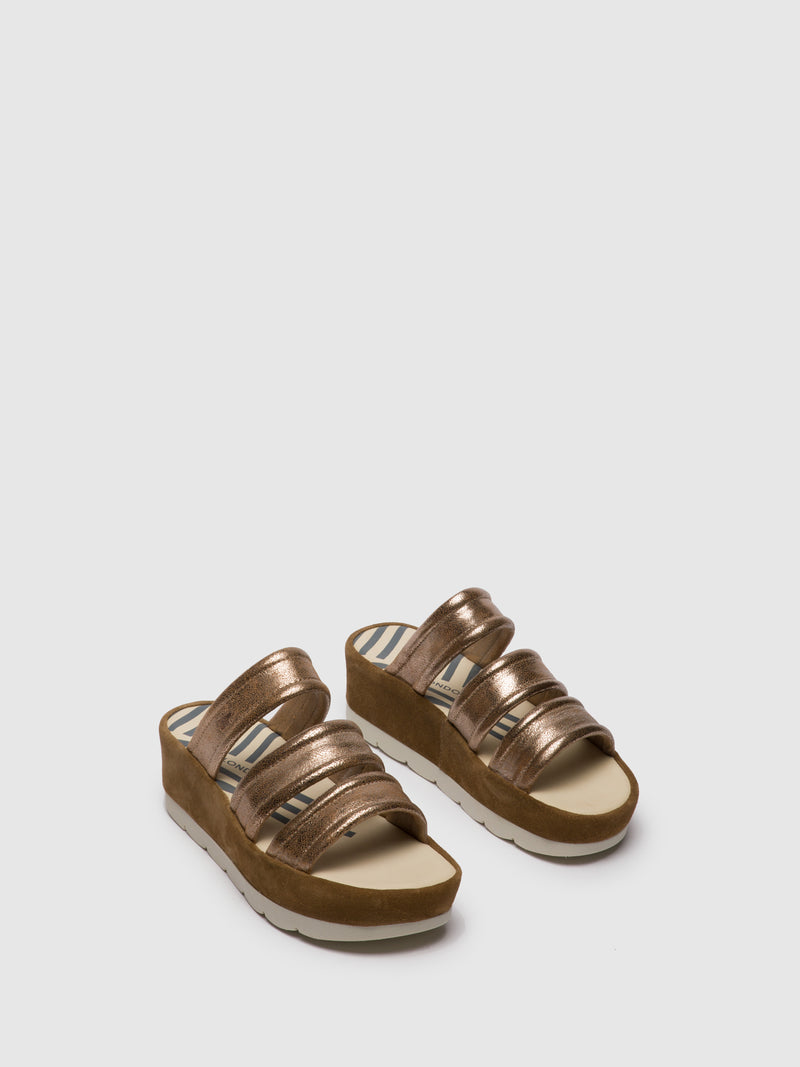 Fly London Gold Open Toe Mules