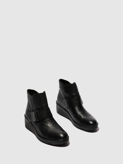 Fly London Velcro Ankle Boots LABE227FLY MOUSSE BLACK