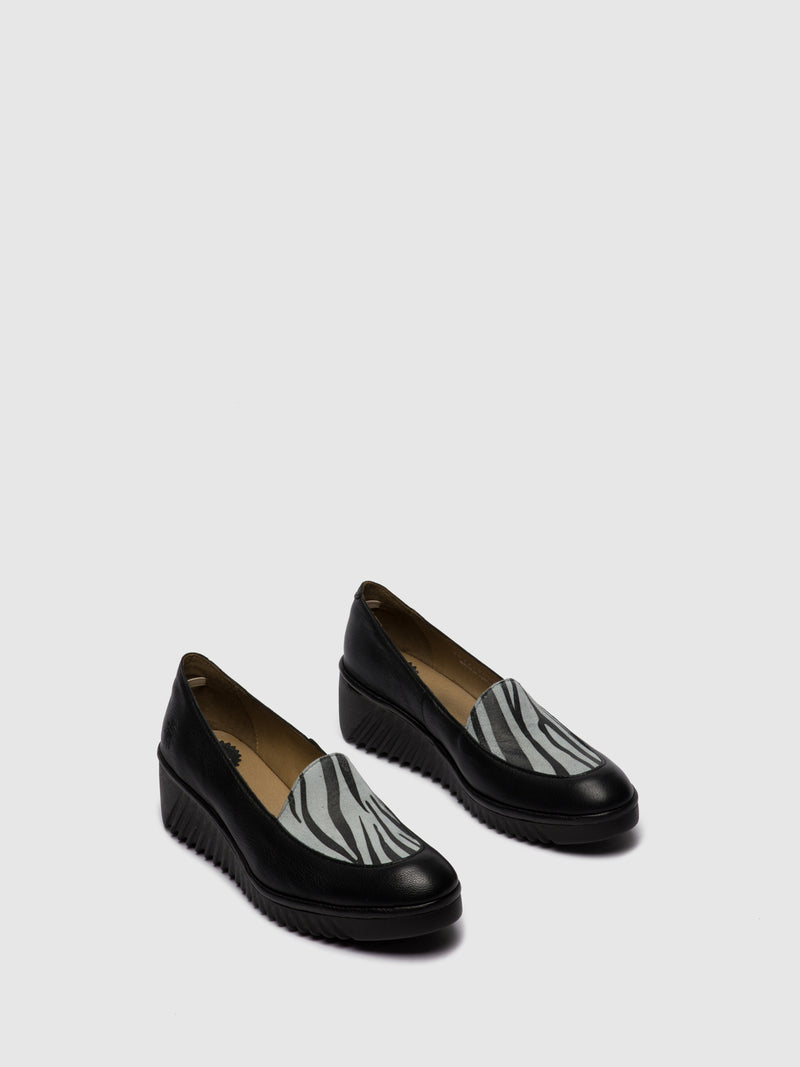 Fly London Loafers Shoes LUAN239FLY MOUSSE/ZEBRA BLACK/OFFWHITE