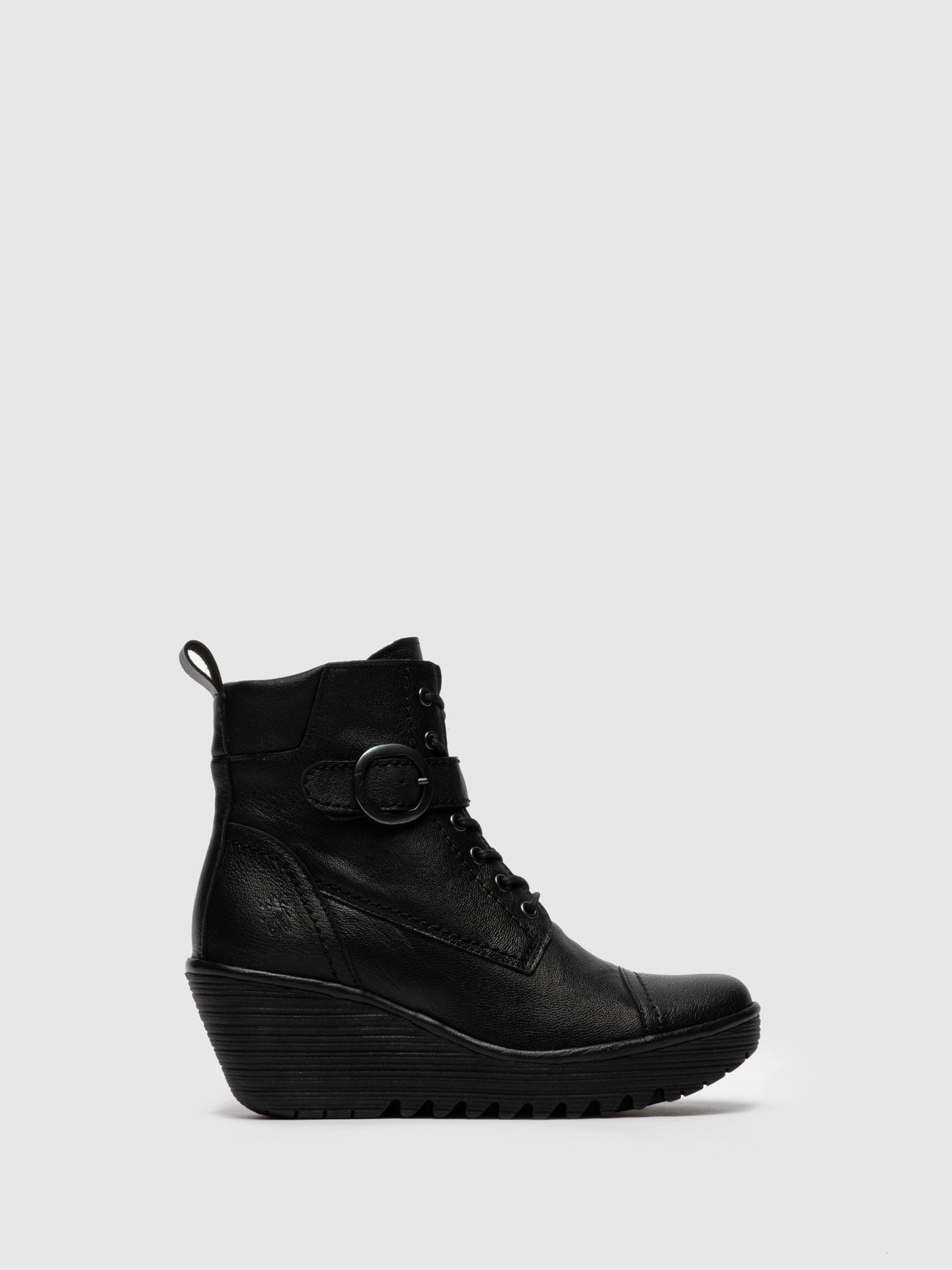 Fly London Lace-up Ankle Boots YEZI247FLY MOUSSE BLACK