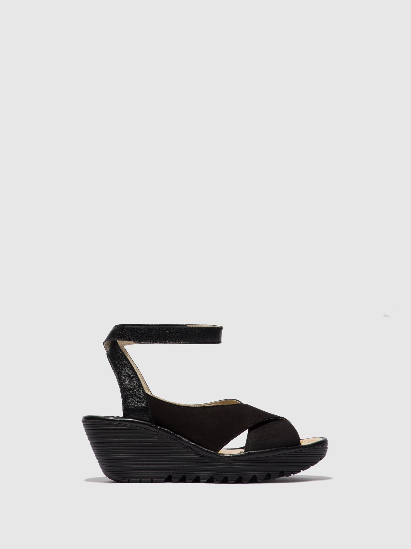 Fly London Ankle Strap Sandals YIVI308FLY CUPIDO/MOUSSE BLACK