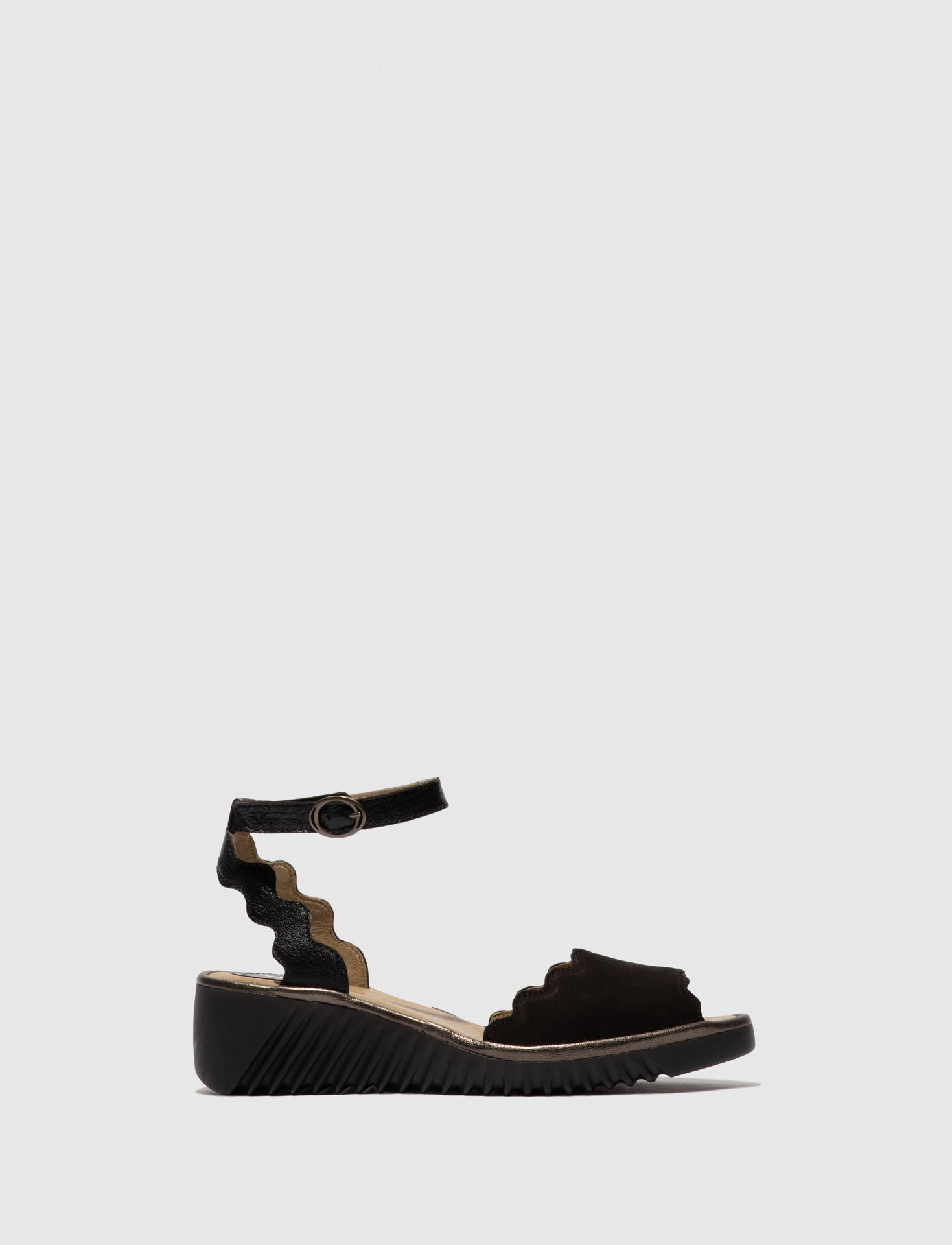 Fly London Ankle Strap Sandals LUME319FLY CUPIDO/MOUSSE/IDRA  BLACK/BLACK/BRONZE