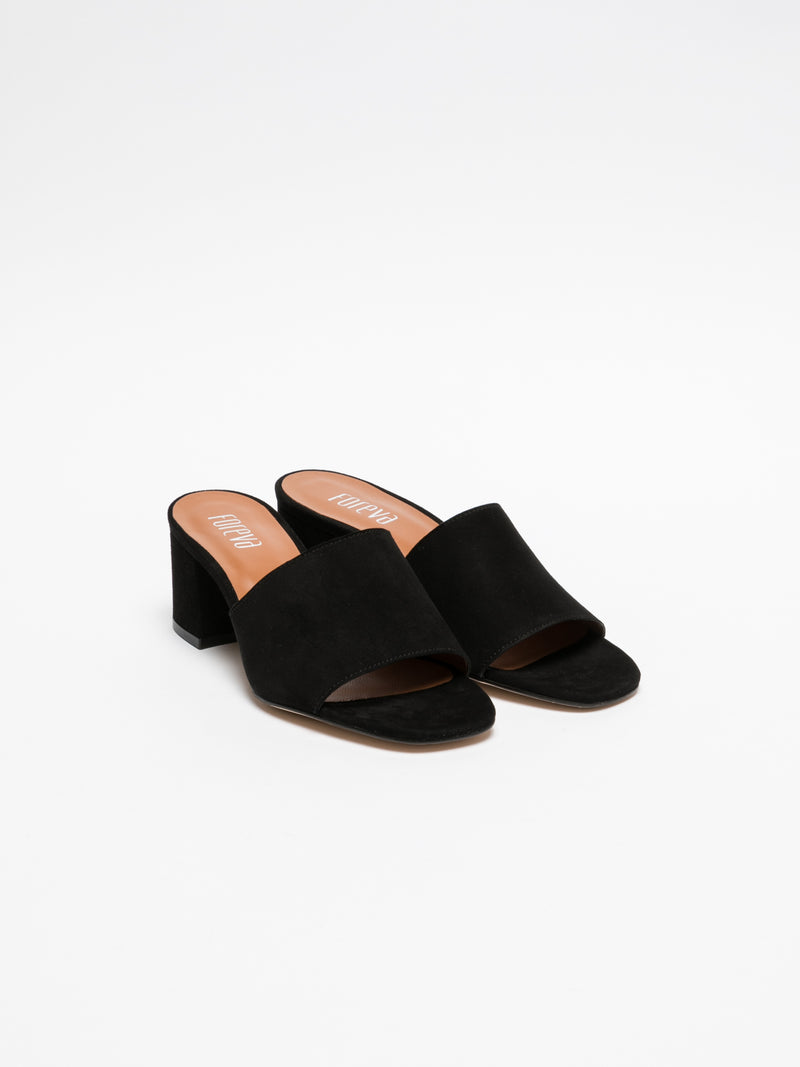 Black Open Toe Mules