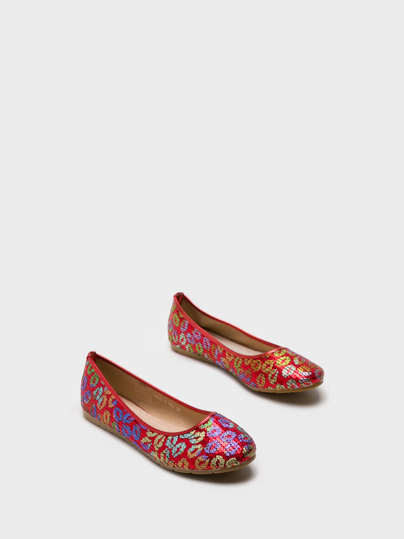 Red Round Toe Ballerinas