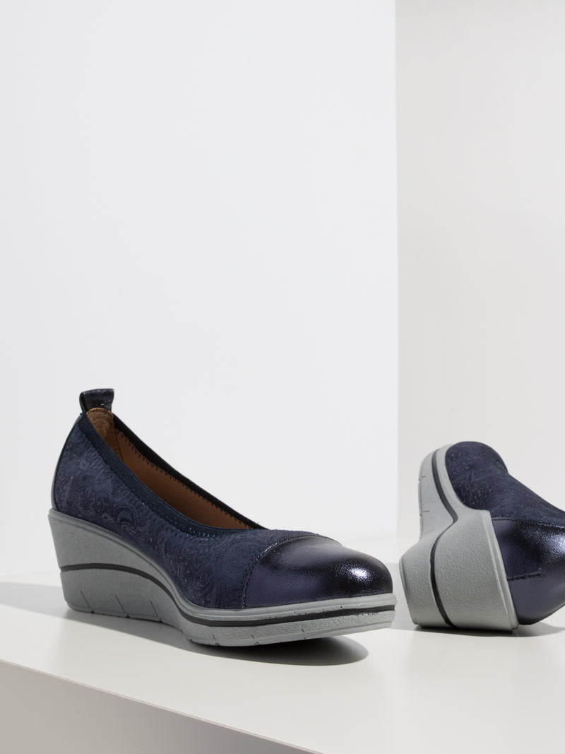 Blue Wedge Ballerinas