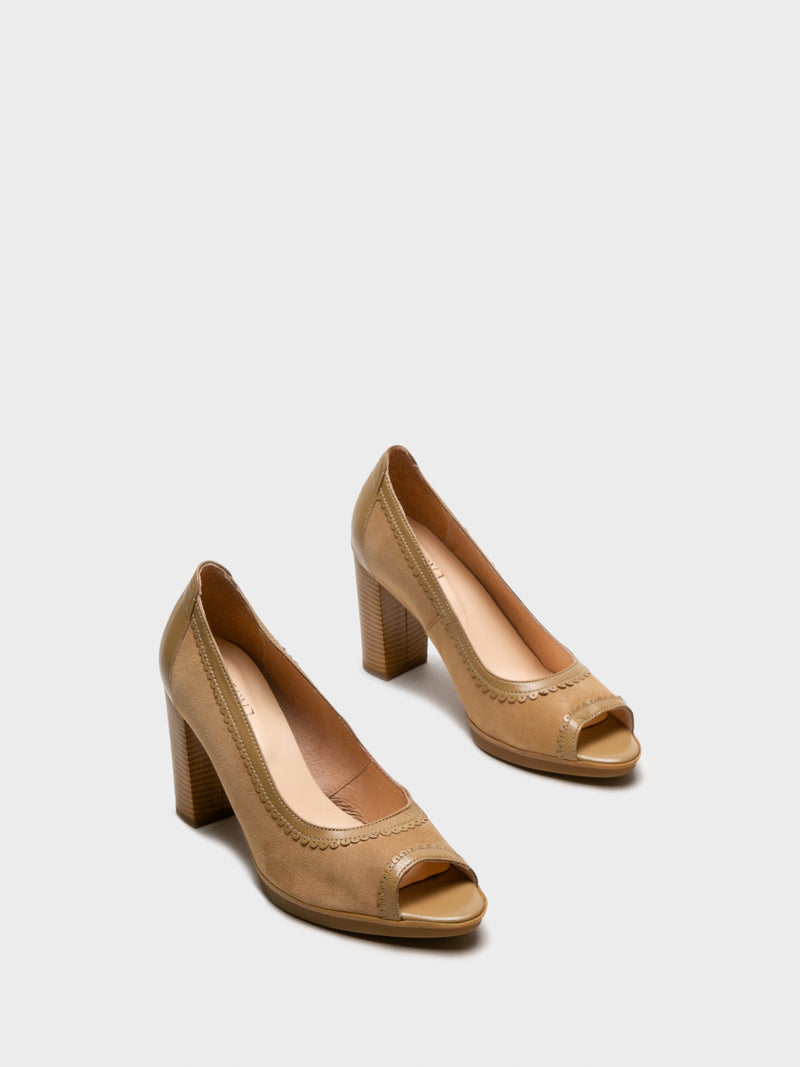 Beige Round Toe Pumps