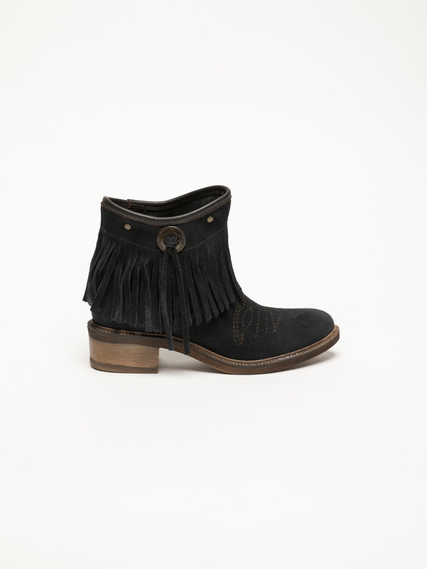 Foreva Blue Fringed Ankle Boots