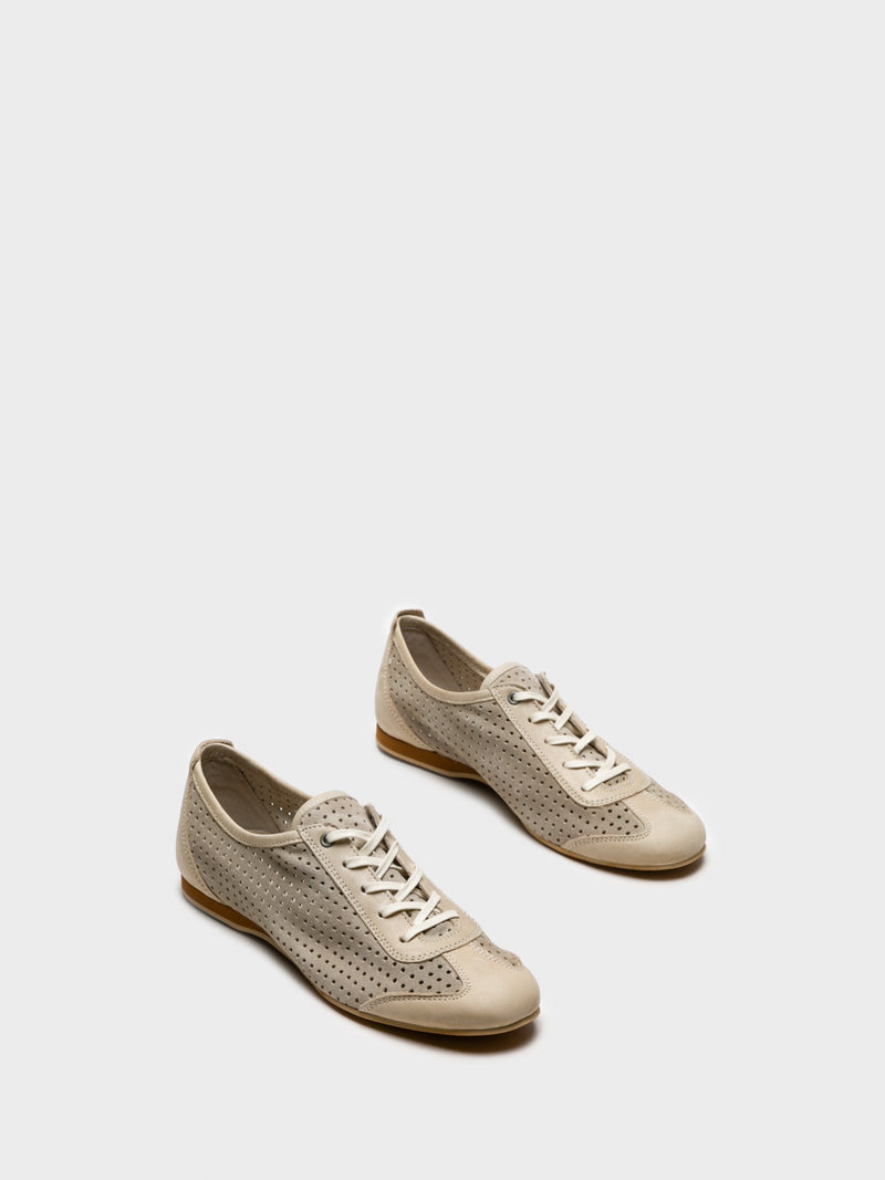 Beige Lace Fastening Shoes