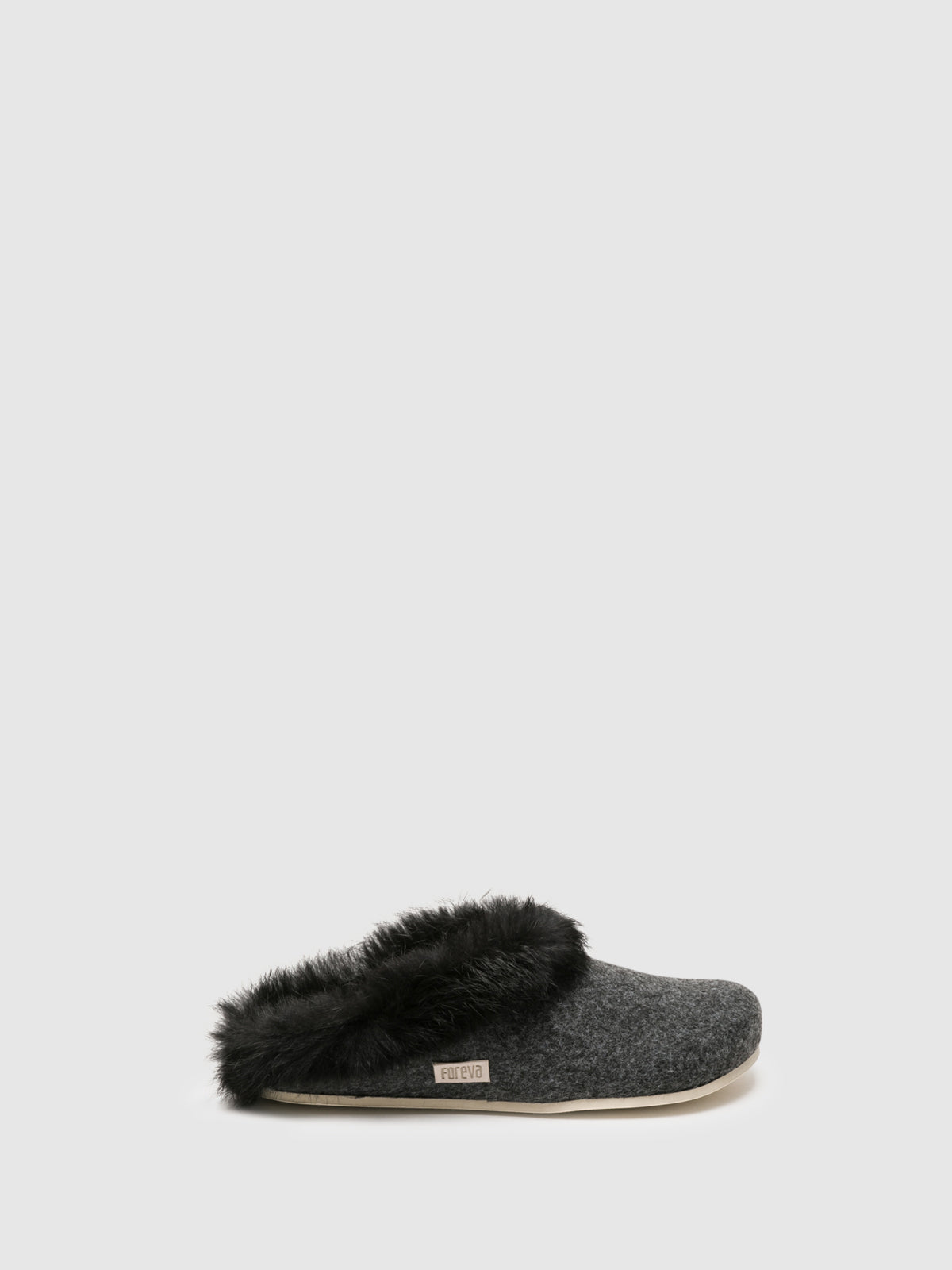 Foreva Gray Fur Slides