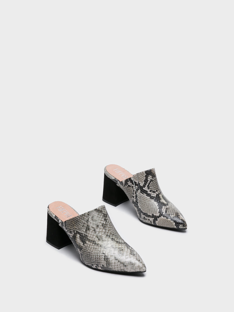 Gray Pointed Toe Mules