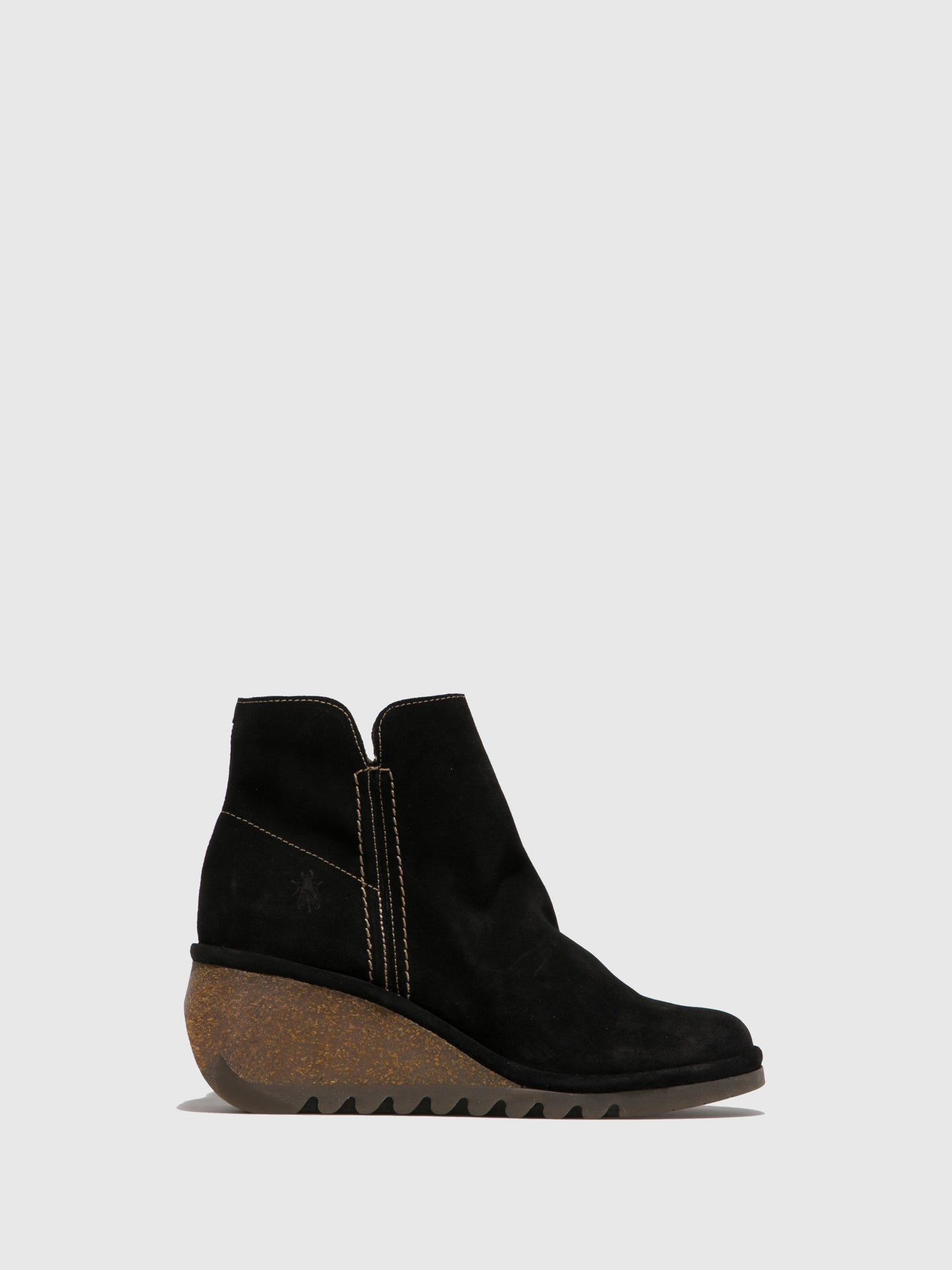 Fly London Black Suede Wedge Ankle Boots