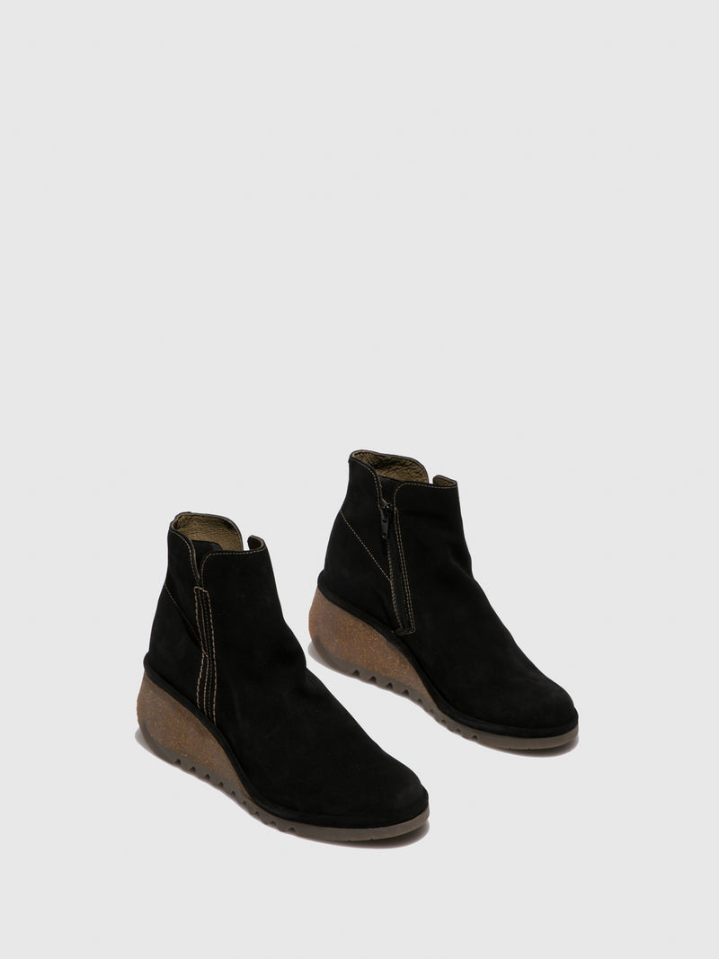 Black Suede Wedge Ankle Boots