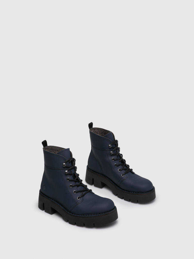 Navy Lace-up Ankle Boots