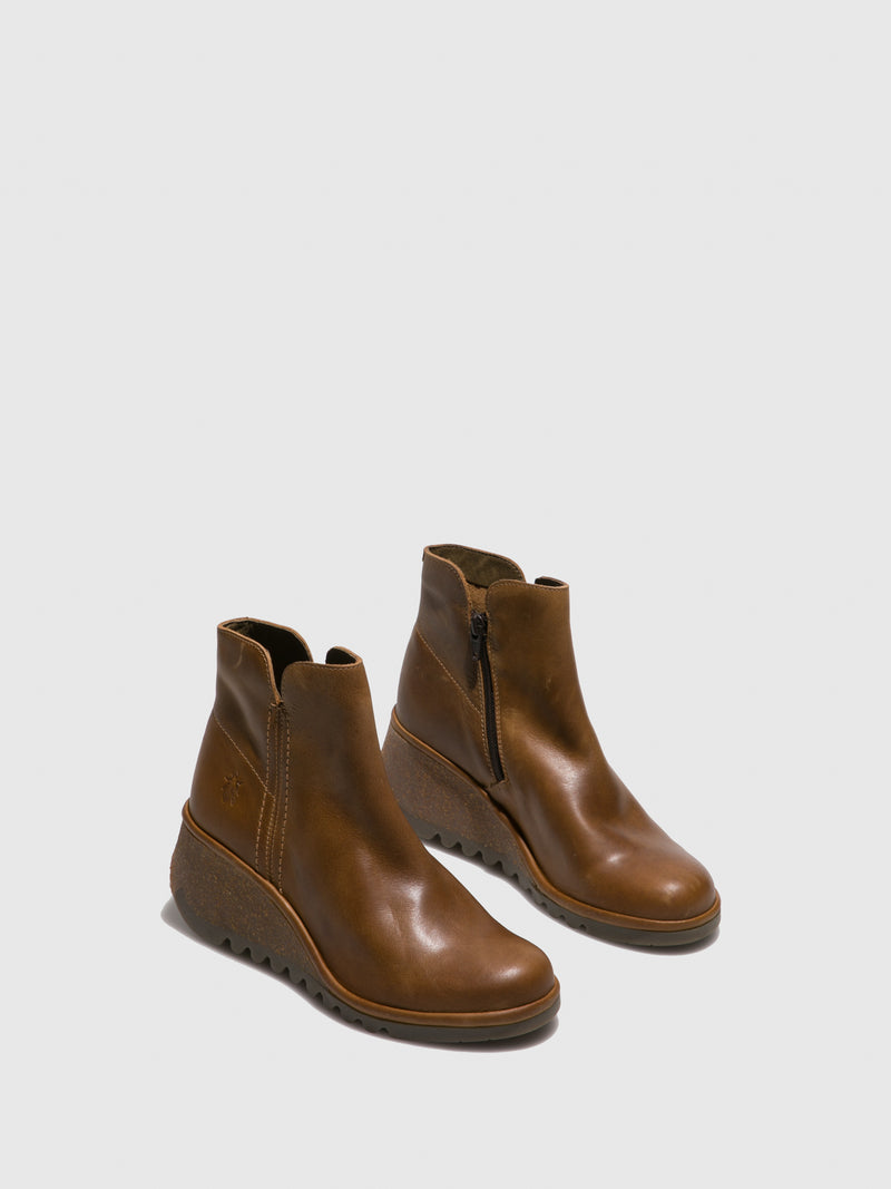 Camel Wedge Ankle Boots