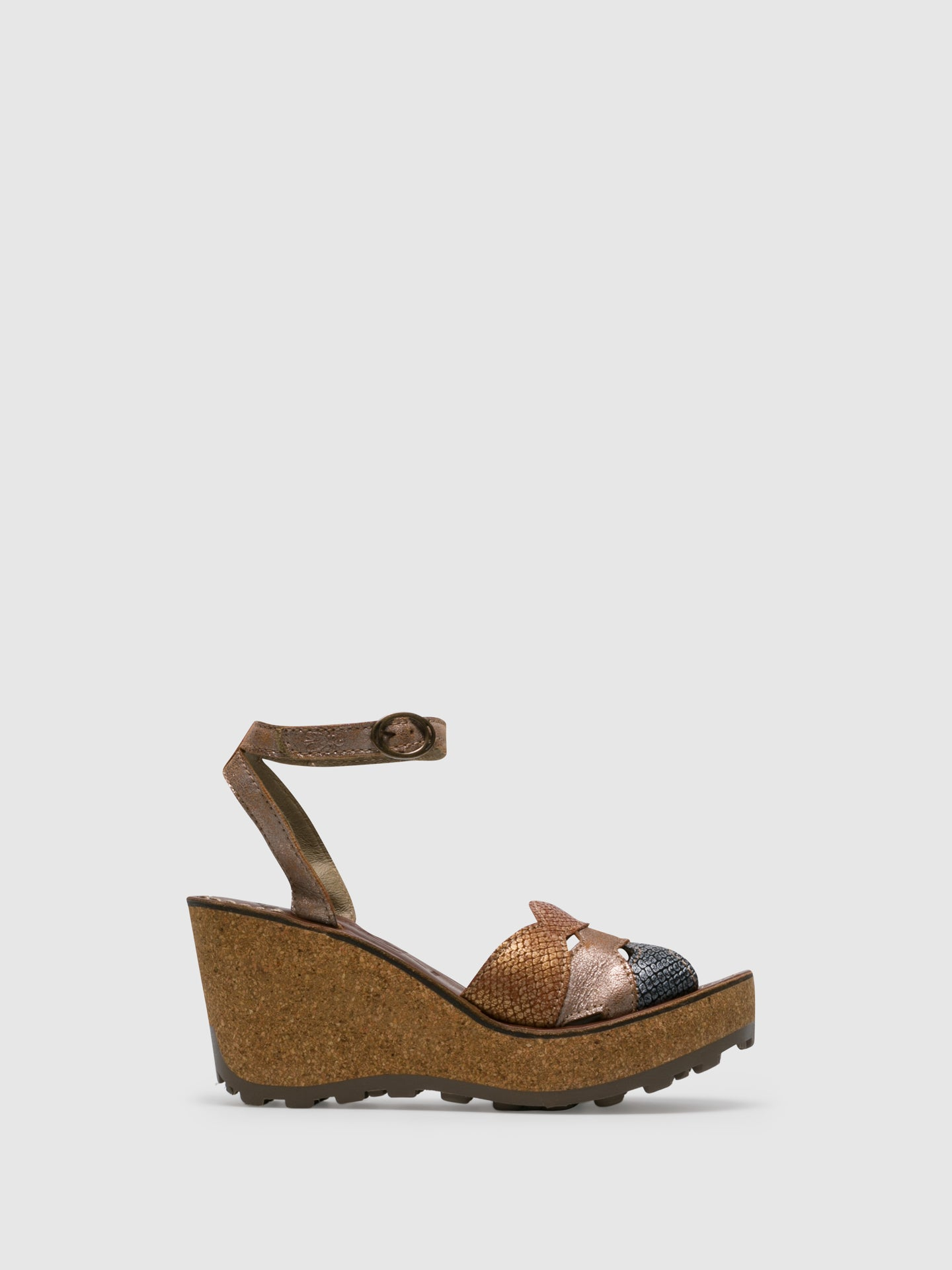 Fly London Tan Wedge Sandals