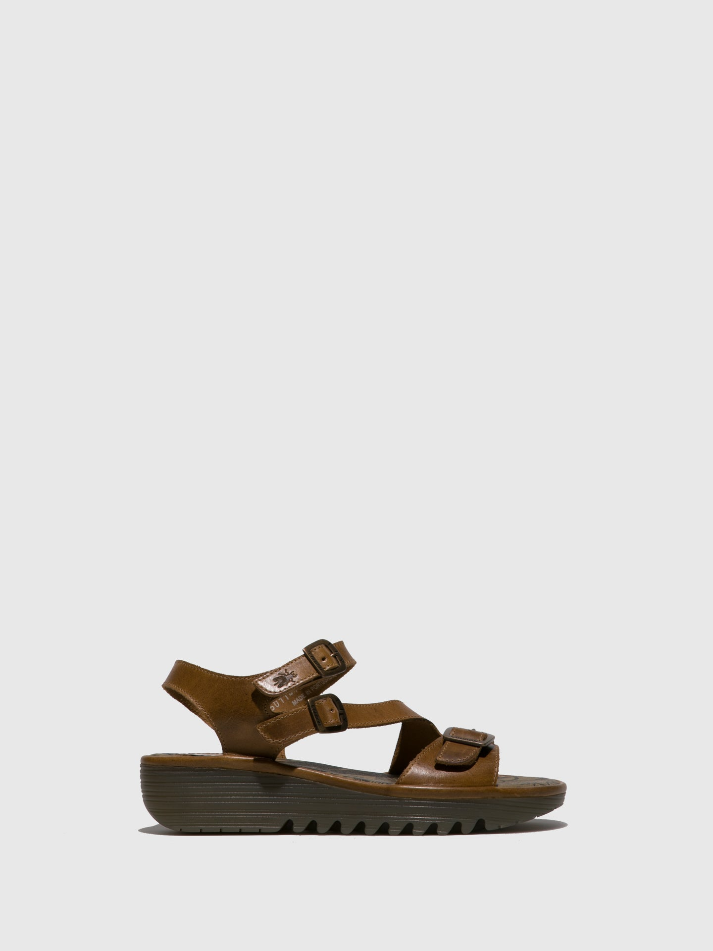 Fly London Camel Buckle Sandals