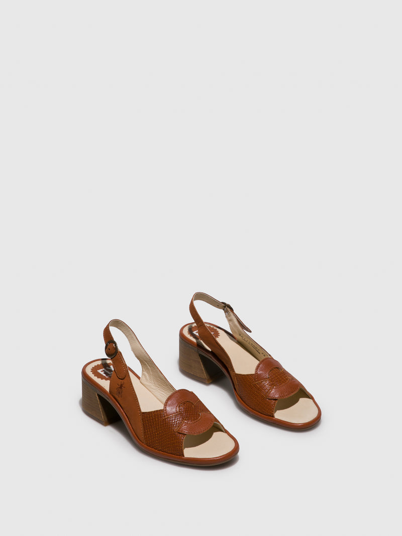 Fly London Tan Sling-Back Sandals