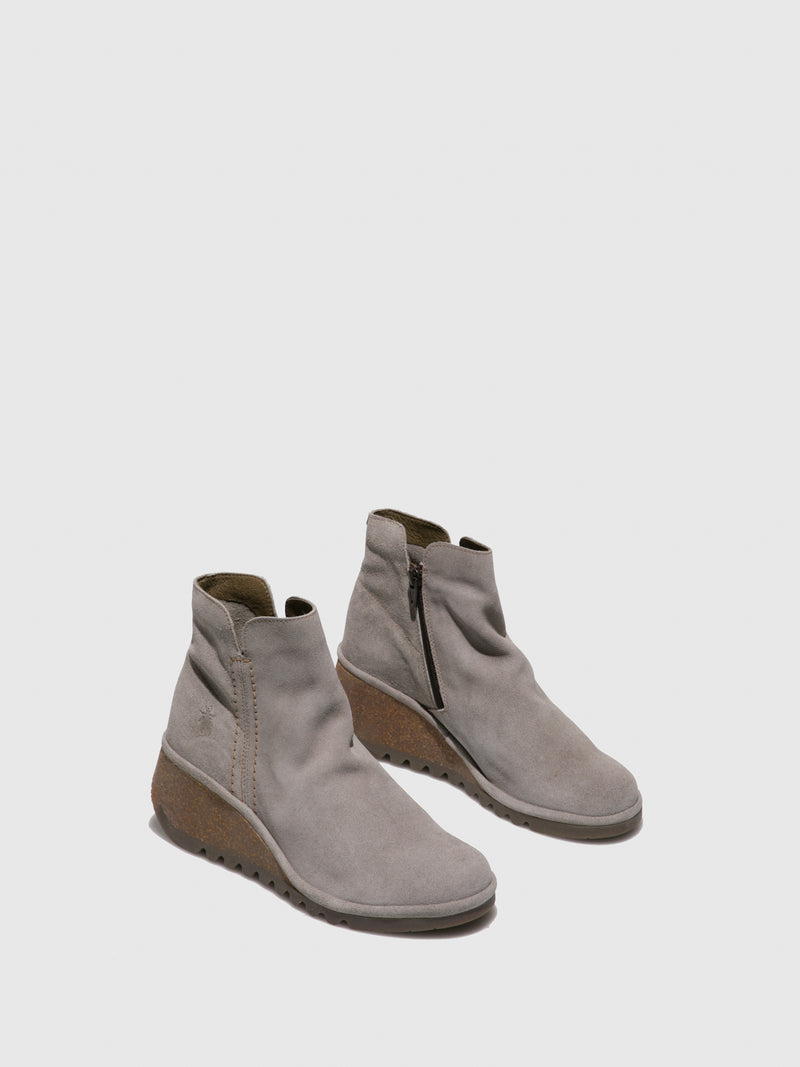 LightGray Wedge Ankle Boots