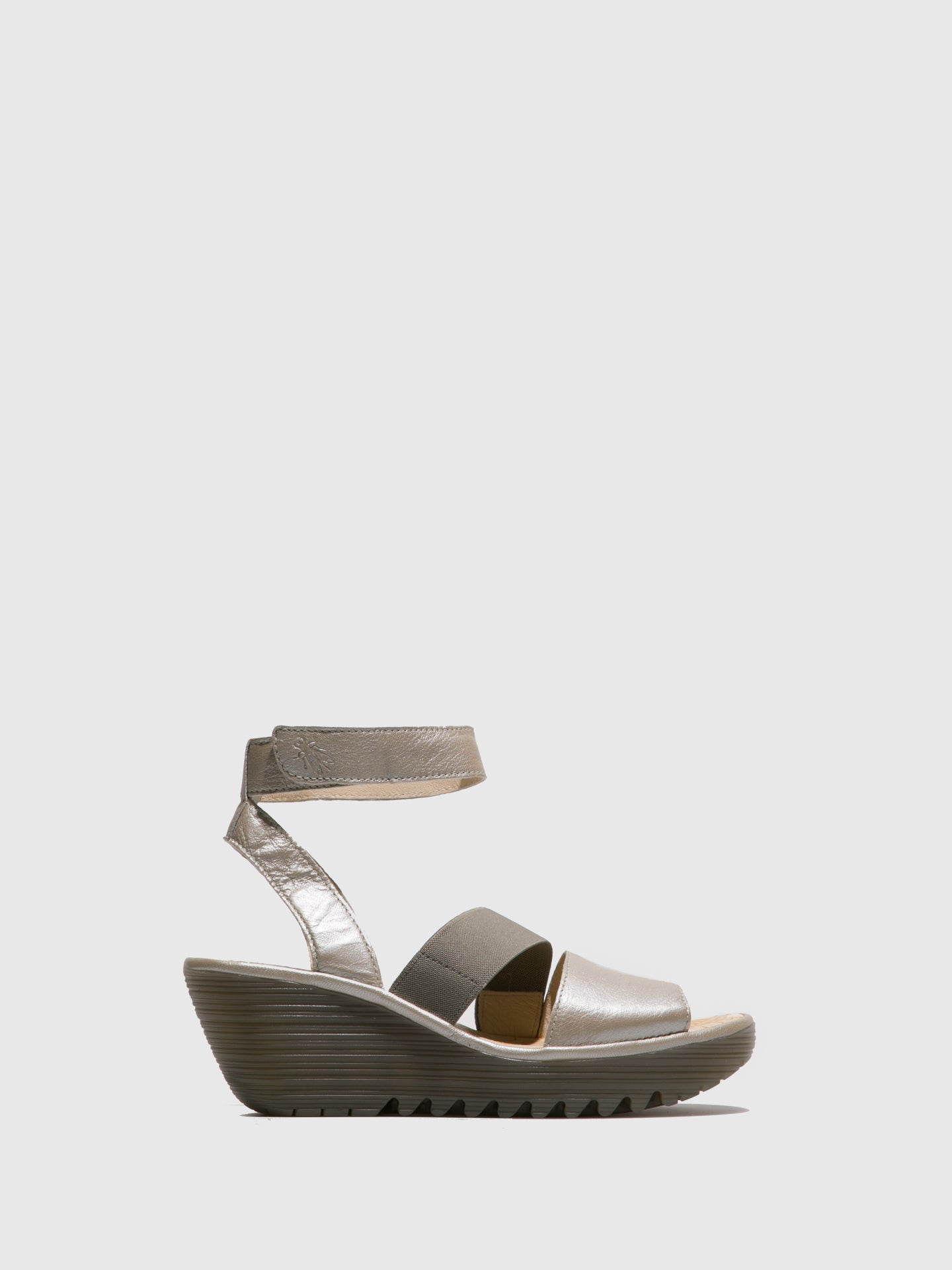Fly London Silver Ankle Strap Sandals