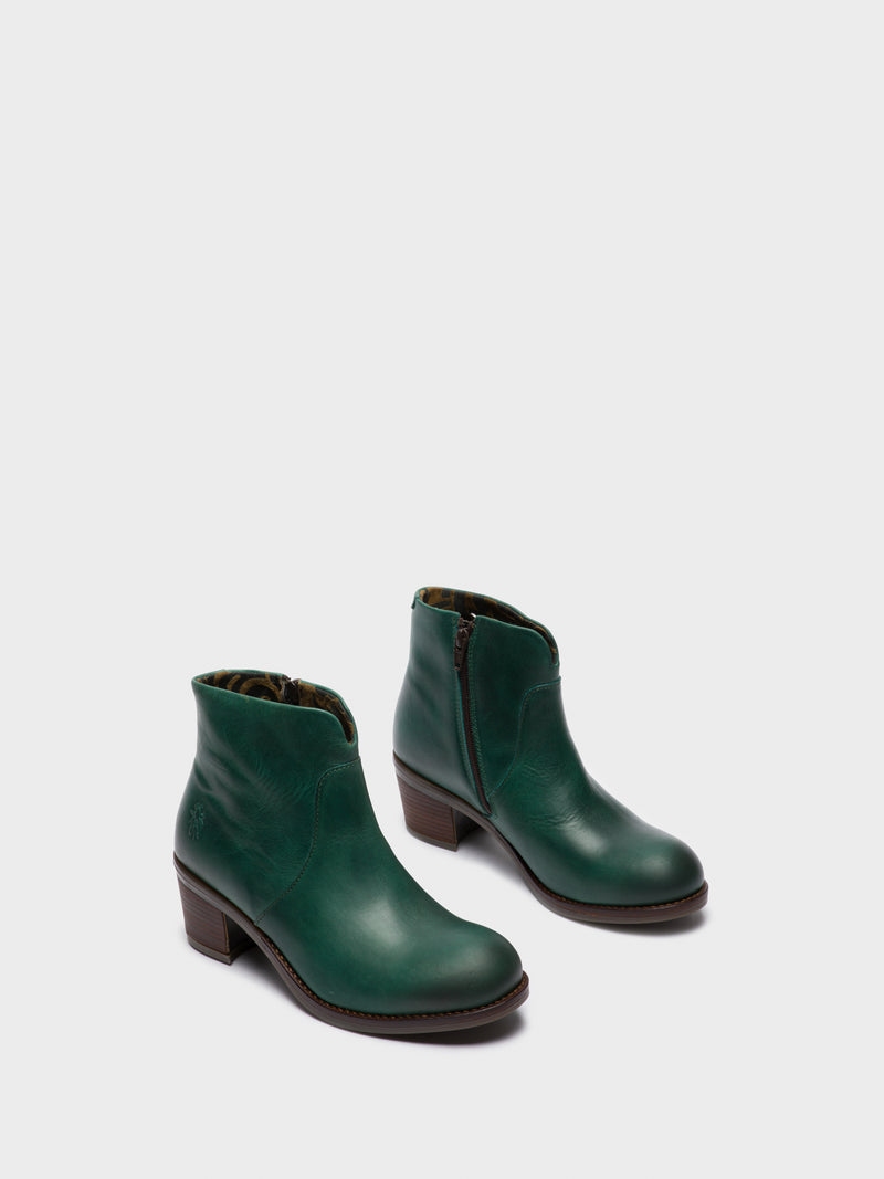 Green Zip Up Ankle Boots