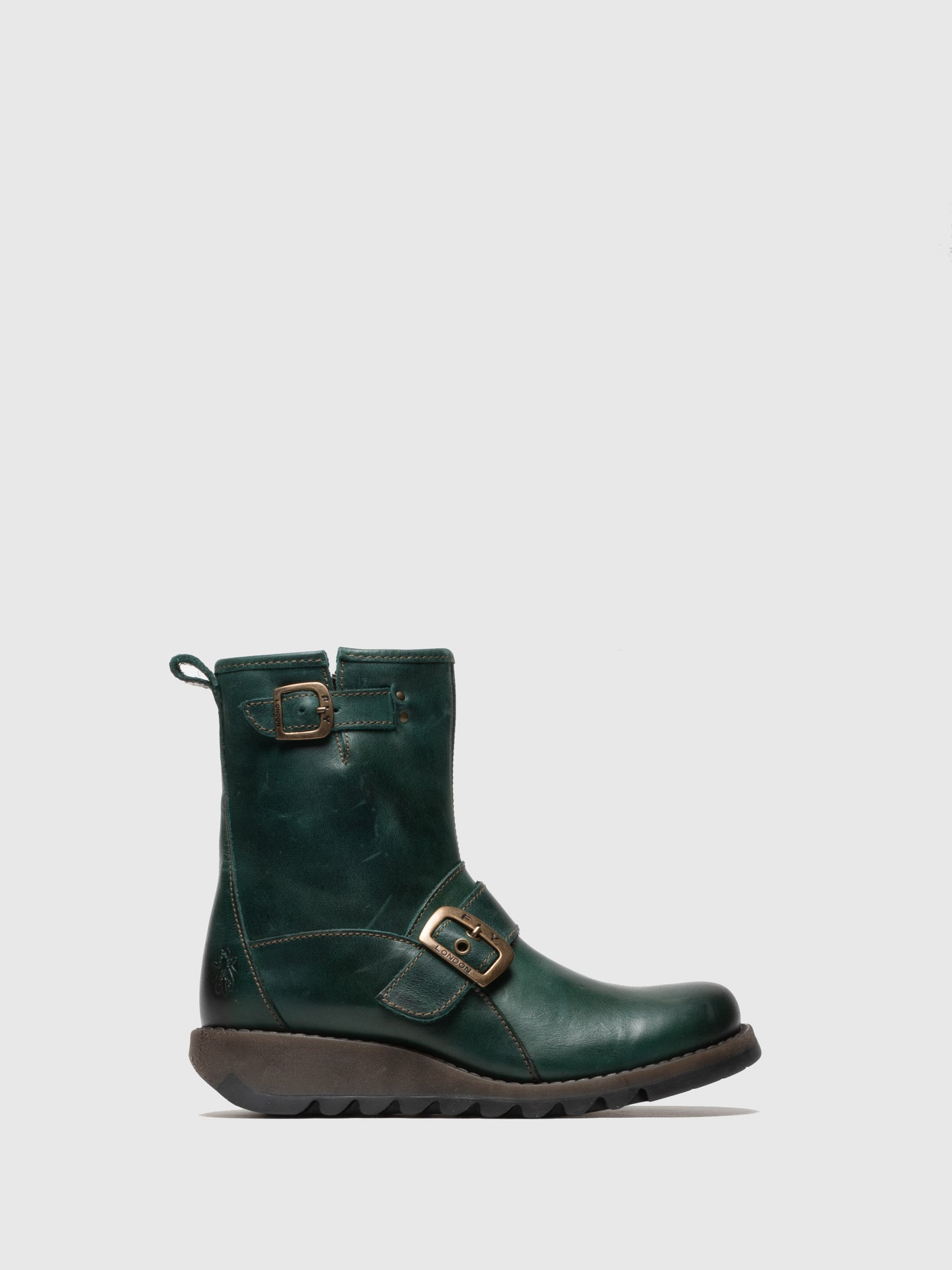 Fly London Green Buckle Ankle Boots