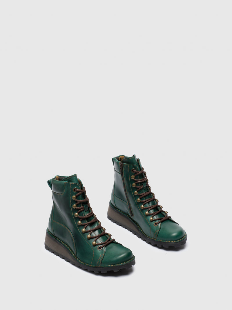 Green Lace-up Ankle Boots