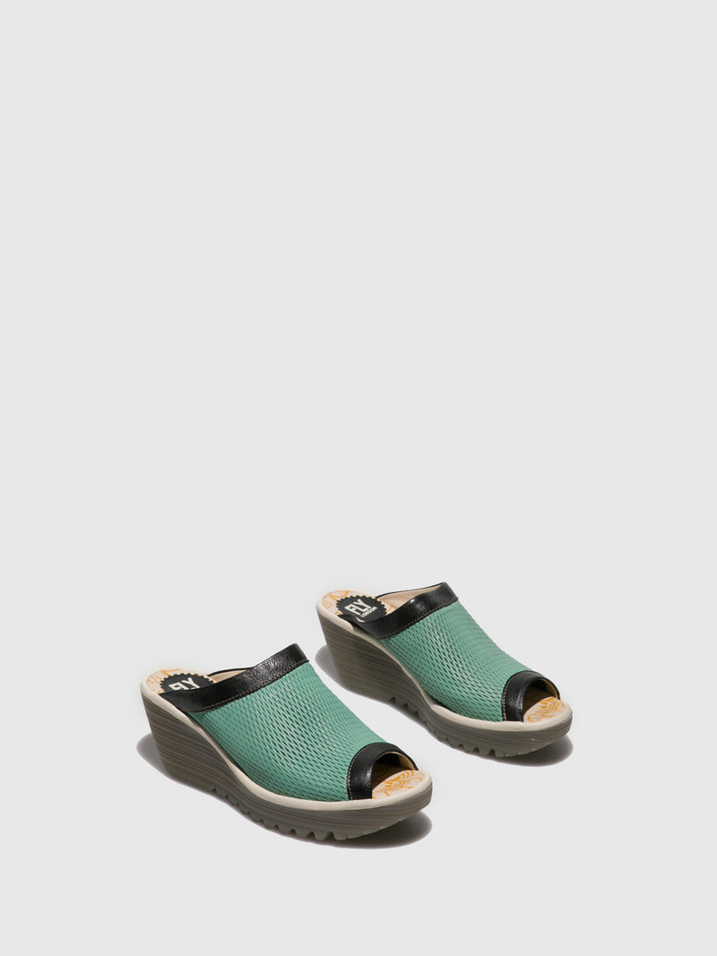 Fly London Green Open Toe Mules