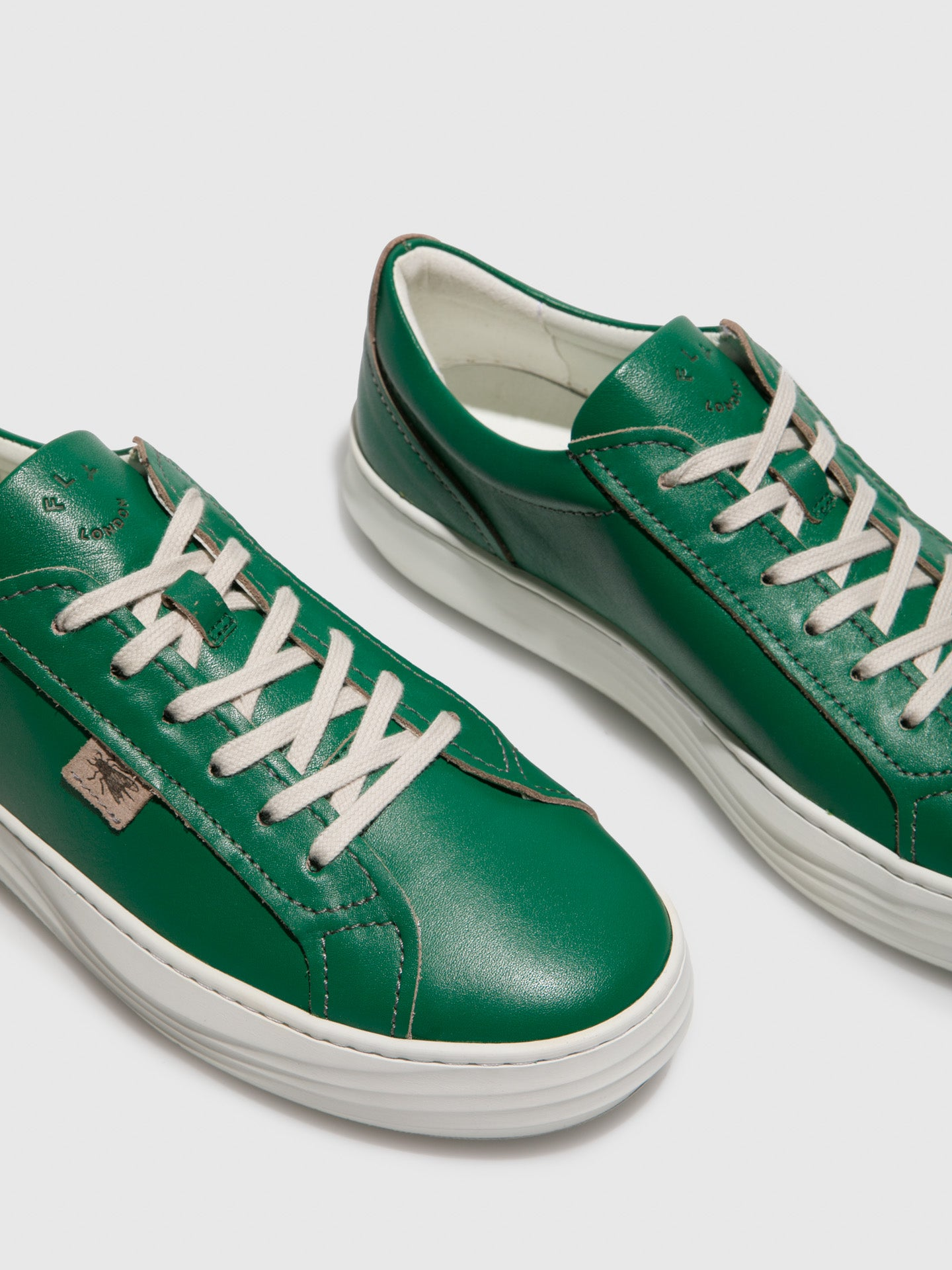 Green Leather Lace-up Trainers - Overcube