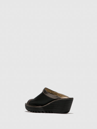 Fly London Brown Black Open Toe Mules
