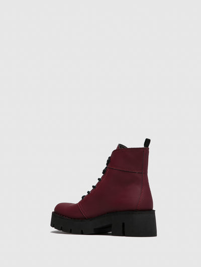 Fly London DarkRed Lace-up Ankle Boots